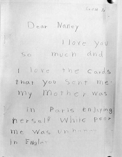 Письмо Глории Вандербильт Нане Морган, которое впоследствии рассматривалось на судебном заседании. Итогом процесса стала передача опеки над Глорией Вандербильт ее тетке — Гертруде Вандербильт-Уитни.