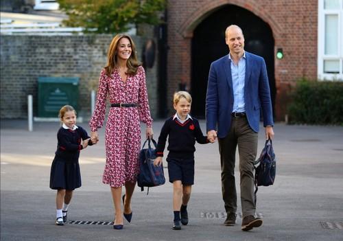 принцесса Шарлотта, Кейт Миддлтон, принц Джордж, принц Уильям