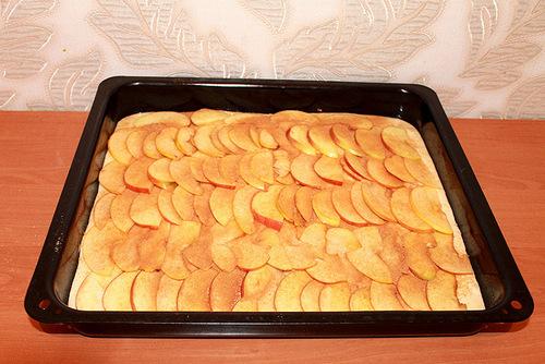 Раскладываем яблоки одинаковым слоем