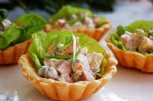 рецепт с мясным салатом
